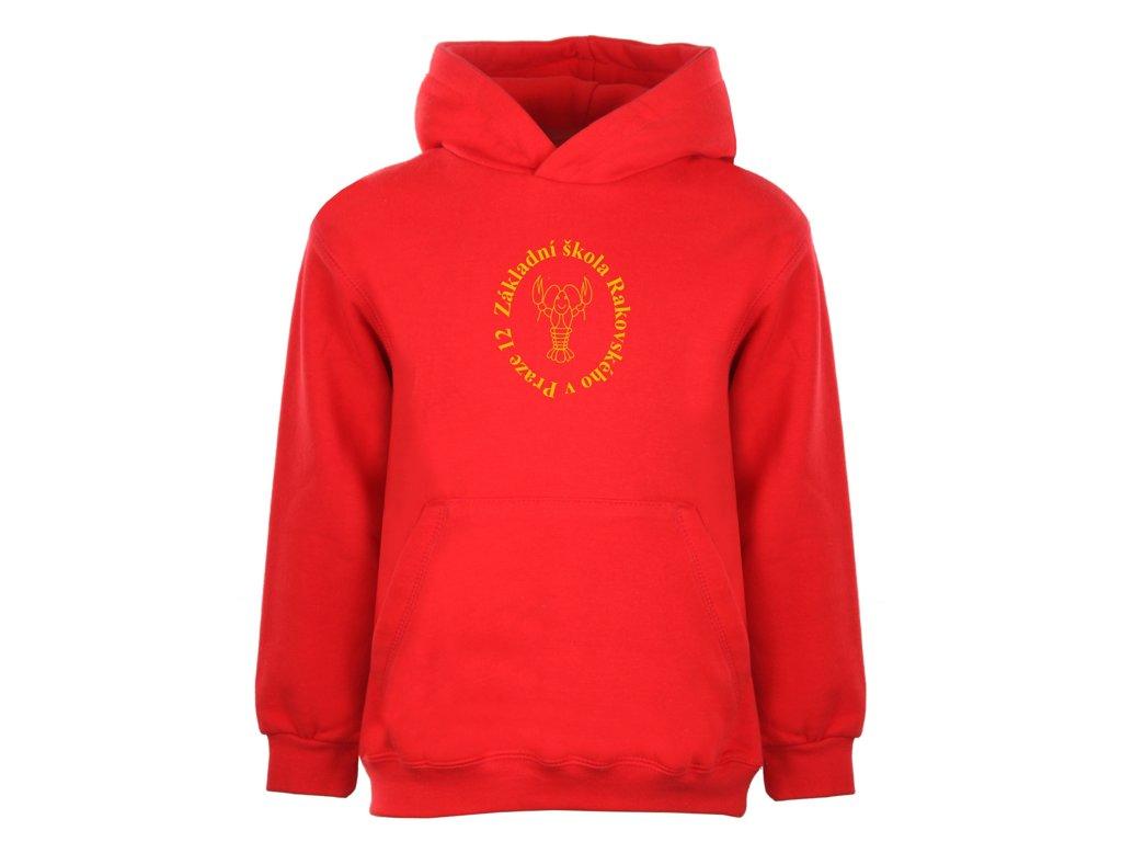 30c698ff0a Mikina s kapucí ZŠ Rakovského červená dětská - MERCHATOR